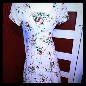 Vintage 80's La Belle Floral Dress Rayon 9